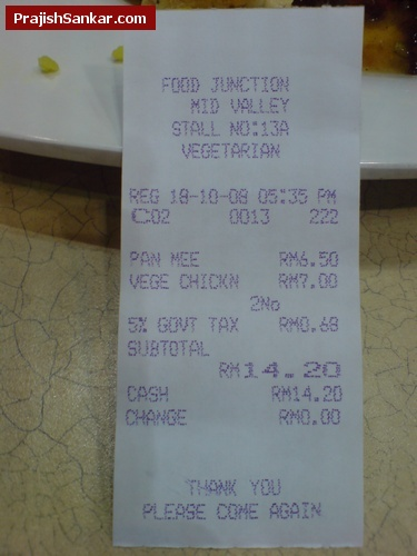 Vegetarian food receipt