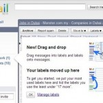 Gmail drag and drop email label feature